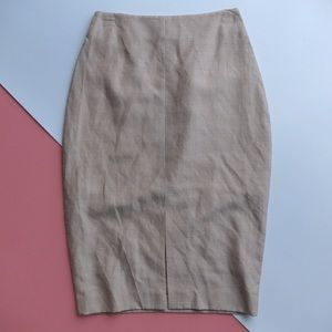 Sacoor Brothers Wool Tan Pencil Skirt with Slit